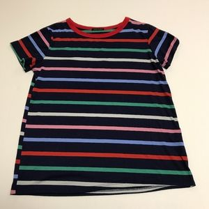Sweet Claire Multi Stripe Short Sleeve Shirt Top S